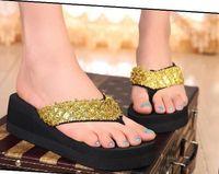 Wholesale 2013 new Hot sale Fashion Lady Outdoor Sandals Sequin Platform Flip Flops Slippers Shoes Casual Colors