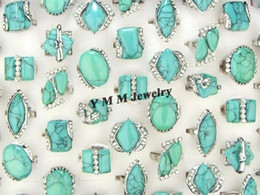 Fashion Turquoise Crystal Rings Lady's Ring Bague Wedding Jewelry Mix Size Free Shipping 50pcs Lot