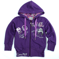 Wholesale F3026 Y Y children winter coats baby girls French terry purple zipper hooded jacket sweat tops with embroidery pieces per