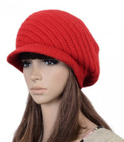 Wholesale Top Quality Neon Red Rabbit Hair Blended Beanies knitted hats Crochet Skull Caps With the Brim Lady Fashion Accessories Drop