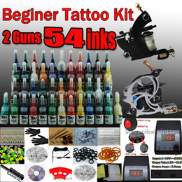 Wholesale Beginner cheap tattoo starter kits guns machines ink sets power supply grips arrive within days D100