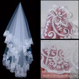 1T White Ivory Long Wedding Bridal Ribbon Lace Edge Veil without Comb