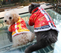 Wholesale Winter Fashion Dog clothes Chinese Tang Suit Pet Vest Jacket With Red Prints