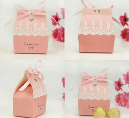 Wholesale Sweet Love Cute Ribbon Wedding Favor Candy Boxes Gift Box Wedding