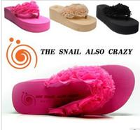 Wholesale Sponge increased floral flip flops Wedge slippers Fashion Lady Outdoor Sandals High heels Platform Flip Flops Slippers Shoes Casual Colors