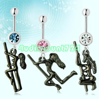 Labret, Lip Piercing Jewelry   1 Pcs Dangle Stripper Dancer Pole Ball Belly Button Curved Steel Navel Ring Bar