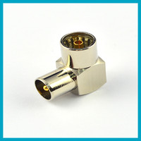 Wholesale DHL Free TV adapter IEC DVB T TV PAL Female bulkhead to Male right angle RF Connector Adapter