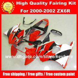 Customize ABS fairings kit for KAWASAKI ZX6R 00 01 02 Ninja ZX 6R 2000 2001 2002 fairings g1a motorcycle body work red black aftermarket
