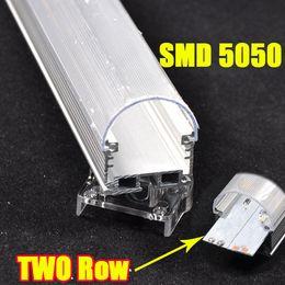 Wholesale 10pcs Leds Double Row Aluminum Profile Bright two Line Waterproof Slot Rigid Led Strip Bar Light SMD White Warm White