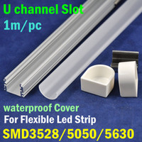 Wholesale 20pcs meter pc LED Aluminum Slot Profile With Waterproof Cover For LED Strip SMD3528 SMD5050