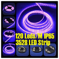 Wholesale SMD led m m rell Epoxy Waterproof IP65 Meters reel Pink Purple Color LED DV V Flexible Strip SMD3528 For Christmas