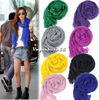 Silk crinkle scarf - Women s Long Crinkle Scarf Wraps Soft Shawl Pure Color Colors Scarf Wraps Vintage