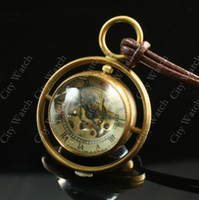 Wholesale Men Women Delicate Solid Brass Ring Circle Crystal Ball Mechanical Skeleton Pocket Watch Necklace Rotatable Globe Pendant Leather Necklaces