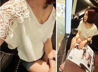 women's T-shirts - spring and summer women s clothes t shirt shirt blouse Openwork crochet stitching loose bat T shirt D