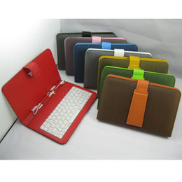 Wholesale Colorful Keyboard Tablet Covers - Colorful Mesh Design 7 Inch PU Leather Case Keyboard With Micro USB Port Cover For Android Tablet PC Q88 MID