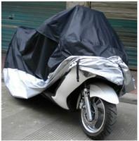 negro+ Plata motocicleta cubierta,scooter cubierta,pesada bicicleta de carreras cubierta de poliéster, material de PVC 190T