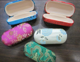 Wholesale China Eyeglass Cases Glasses Case High quality Silk Flower Colorful Spectacle Case mix color Free