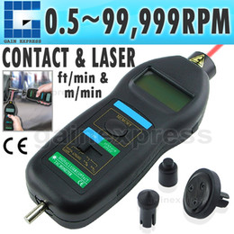 Wholesale DT C Handheld Auto Ranging in1 Digital Laser Non Contact Contact Tachometer Tach ft m min RPM Range