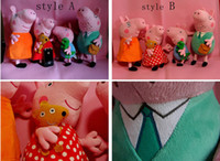 Unisex 8-11 Years Anime & Comics Free shipping Peppa pig Set of 4 Daddy Mummy Pig Peppa George Pig family large Plush toy set Peppa hold Teddy