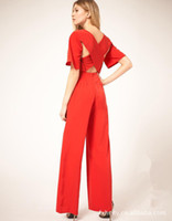 Cheap new 2013 summer fashion women's ladies' sexy cross solid color loose jumpsuit S M L Free Shipping