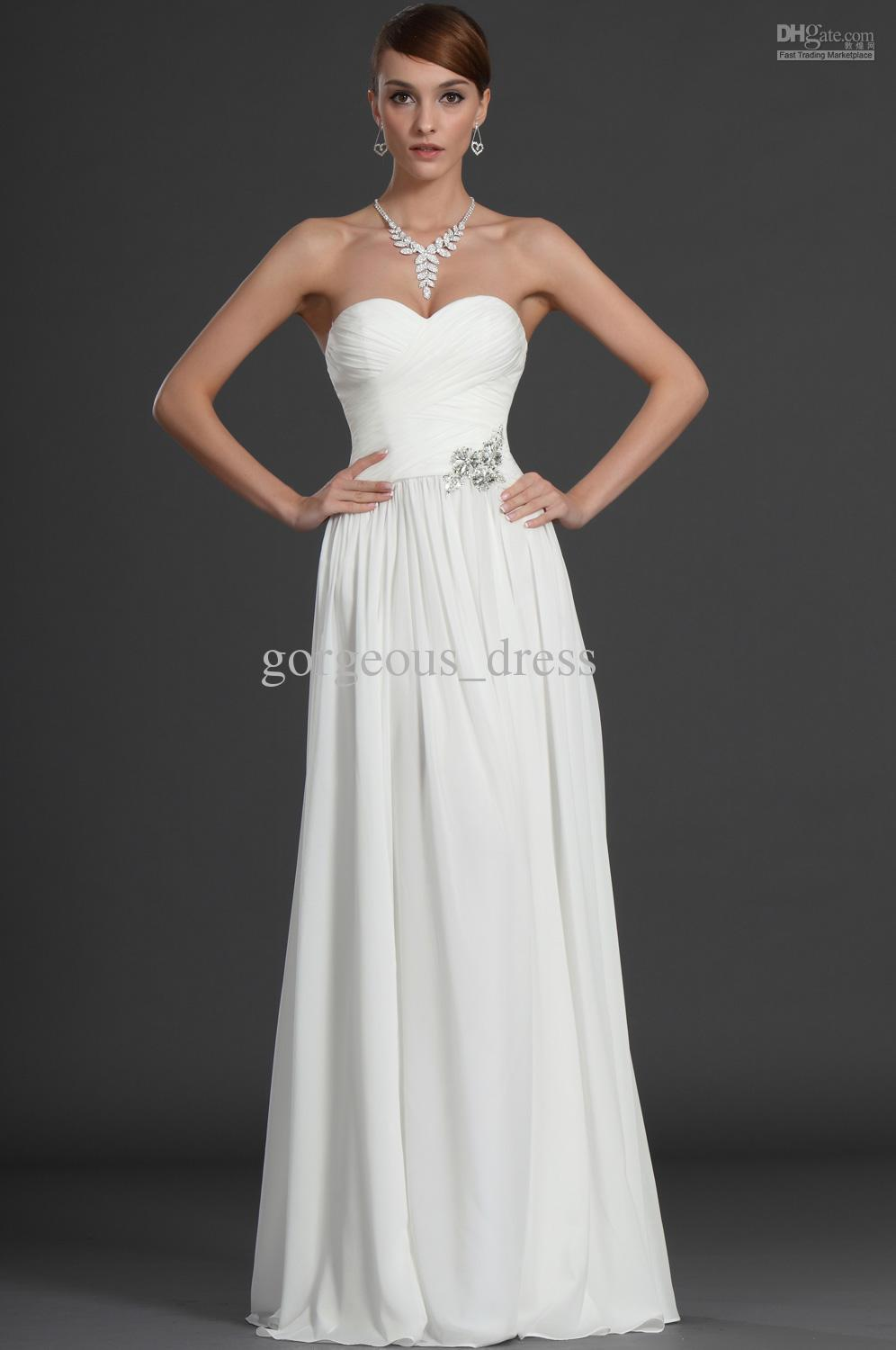 Discount Simple Cheap Beach Wedding Dresses Long Chiffon Strapless ...