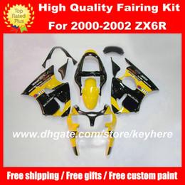 Customize ABS fairings kit for KAWASAKI ZX6R 00 01 02 Ninja ZX 6R 2000 2001 2002 fairings g5a motorcycle body work yellow black aftermarket