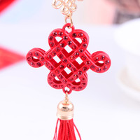 rhinestone keychain - Festive gift red chinese knot rhinestone keychain
