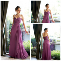 Sleeveless best bridesmaid gowns - Best selling Sweetheart Empire sweep chiffon crystal waist long burgundy prom gowns bridesmaid dresses sexy formal evening dress