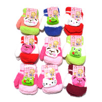 Wholesale children gloves girls Cartoon Candy color wool of velvet warm gloves pairs dandys