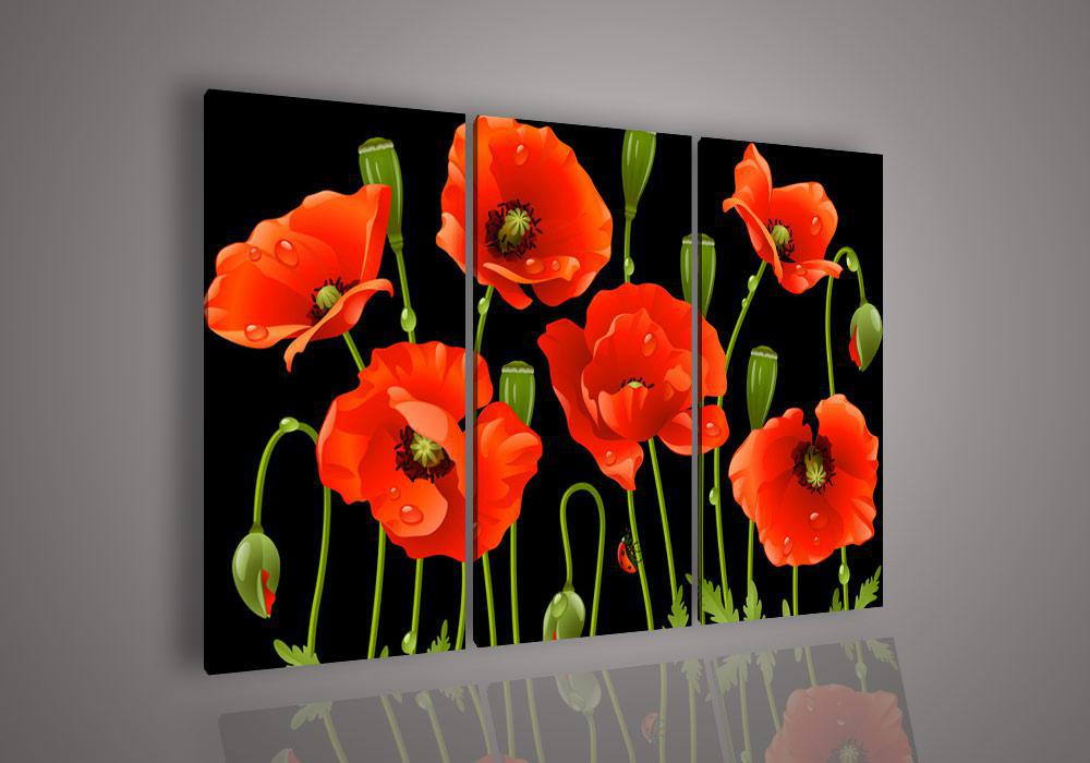 2018 wall art no framed modern abstract acrylic flower red for 3 piece paintings