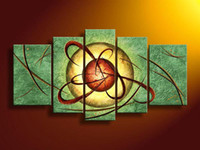Wholesale 5 Piece Wall Art Modern Abstract Green Energy Oil Painting On Canvas Paintings Contemporary Homes Fl