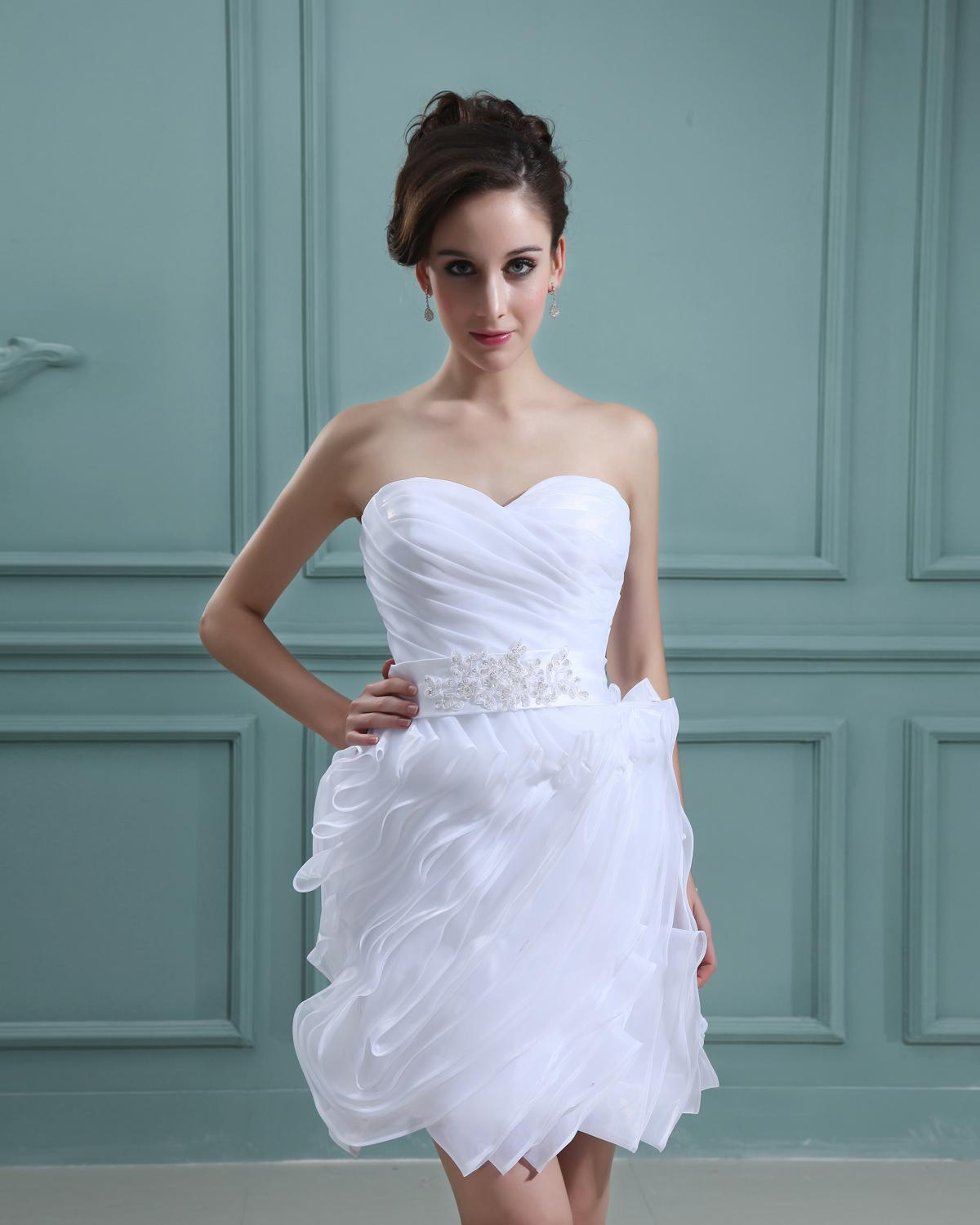 Discount 2013 charming sexy strapless short white organza for Strapless summer wedding dresses