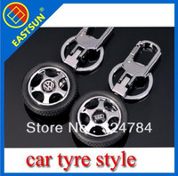 Wholesale EASTSUN Universal Silver Stainless steel Creative Car Tyre Style Personalized Keychain