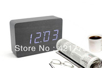 Wholesale Fashion Digital LED Wood Alarm Clock Temperature Blue White Desk Table Clocks