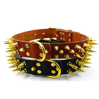 Wholesale New Spiked Studded Real Leather Dog Pet Collar Handmade Golden Copper Nails