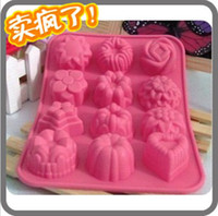 Wholesale Silicone Chocolate Molds Per Sheet Flower Cake Mold Chocolate Pudding Jelly Mould FREE SHIP