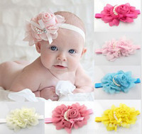 Baby Chiffon Rose Flower Pearl Headbands Baby Girl Floral Ha...