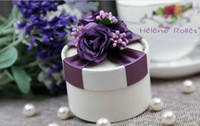 Round Purple Favor Boxes Free shipping Circle Wedding Box Purple Ribbon With Flowers Favor Gift Boxes 100Pcs Lot