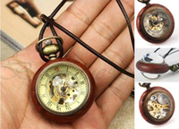 antique wood frames - Luxury Rosewood Frame Dial Crystal Ball Skeleton Mechanical Small Pocket Watches Men Women Red Wood Dangle Necklace Pendant Fob Chain Watch
