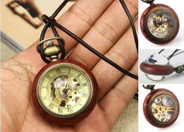Wholesale Luxury Rosewood Frame Dial Crystal Ball Skeleton Mechanical Small Pocket Watches Men Women Red Wood Dangle Necklace Pendant Fob Chain Watch