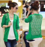Wholesale Free sihpping fashion Women Lace Sweet Candy Color Crochet Knit Sweater Cardigan