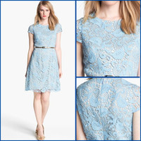 Wholesale Beach Fashion Jewel Lace Sexy Short Sleeve Piping Sash A line Zipper Mini Short Cocktail Dresses