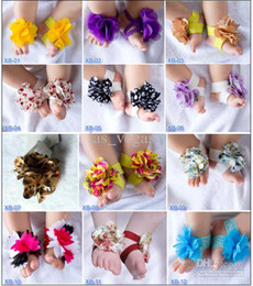 Wholesale TOP BABY Beautiful foot flower Slipper baby fashion Barefoot Sandals Ties girls Shoes tyzsz