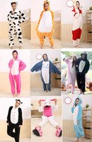 Animal New Year Japanese Animal Kigurumi Pajamas Animal Pyjamas Cartoon Cosplay Costume Coral Fleece Animal Sleepwear Sleepwears 32 styles Adult Garment EMS Free Shipping
