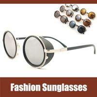 name brand eyeglasses - S264 sunglasses mirror lens vintage round sunglasses super star steampunk fashion brand name ladies baroque circle lense eyeglasses