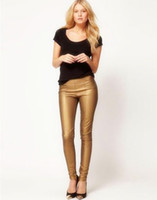 Wholesale New Arrival Patchwork Stretchy Leggings Leather Slim Sexy Solid Zipper Gold Autumn Fashion Ladies Pencil Pants LCY