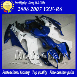 Racing fairing kit for YAMAHA 2006 2007 YZF-R6 06 07 YZFR6 06 07 YZF R6 YZFR600 blue white custom Fairings set ab58