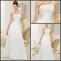 online store - 2013 Beach Wedding Dresses A line One Shoulder Pleats Chapel Train White Chiffon Long Casual Bridal Gowns Designer Online Stores Babyonline