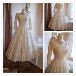 Wholesale Vintage s Poland Style Scoop Neck Long Sleeves Tea Length Lace Ivory White Wedding Dresses Wedding Gowns HK128