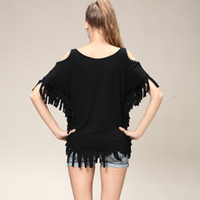 Wholesale New modal loose beads plus size Ladies t shirt ad fringe skull punk print plus size Ladies t shirt Bat sleeve Strapless beaded tassel shirt